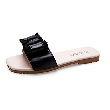 voordelige Damespantoffels & slippers-Dames Slippers & Flip-Flops Platte hak Strik PU Informeel Zomer Zwart / Beige