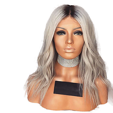 Sentetik Dantel Ön Peruk Dalgalı Stil Orta kısım Ön Dantel Peruk Gri Ombre Rengi Sentetik Saç 12-16 inç Kadın's Ayarlanabilir / Isı Dirençli / Parti Gri / Ombre Peruk Şort Cosplay Peruk