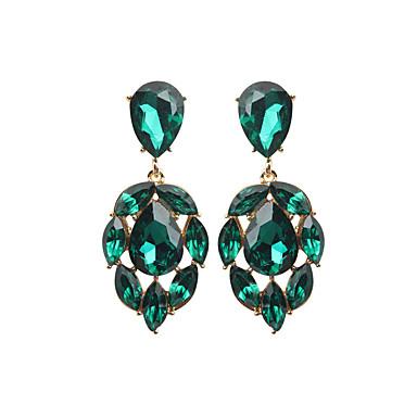 Kadın's Kristal Damla Küpeler Armut Damla Lüks Vintage Küpeler Mücevher Beyaz / Koyu Yeşil Uyumluluk Düğün Parti Nişan 1 çift