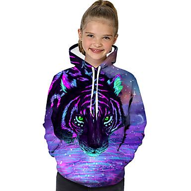baratos Moletons Para Meninas-Infantil Bébé Para Meninas Activo Básico Geométrica Estampado Estampa Colorida Estampado Manga Longa Moleton & Blusa de Frio Roxo