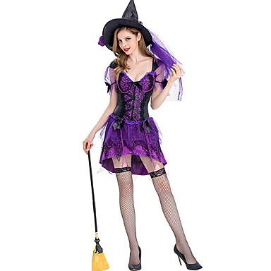 Cadı Kostüm Kadın's Peri Masalı Teması Cadılar Bayramı Performans Kostümler Kadın's Dans kostümleri Polyester Tül
