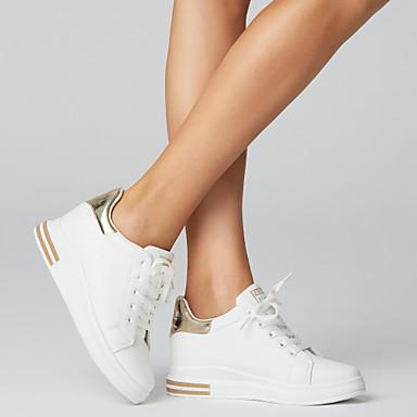 povoljno Ženske cipele-Žene PU Proljeće ljeto Ležerne prilike / slatko Sneakers Wedge Heel Okrugli Toe Zlato / Crn / Crvena