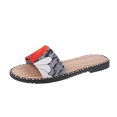 voordelige Damespantoffels & slippers-Dames Slippers & Flip-Flops Platte hak Polyester Zomer Beige / Rood / Groen