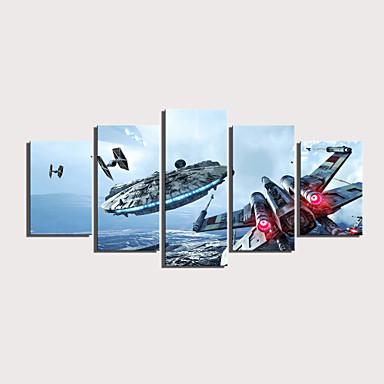 abordables Toiles-Imprimé Impressions sur toile roulées Impression sur Toile - Militaire Céleste Moderne Cinq Panneaux Art Prints