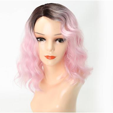 povoljno Perike i ekstenzije-Sintetičke perike Tijelo Wave Stil Sa šiškama Capless Perika Pink Pink / Grey Sintentička kosa 13 inch Žene Party Prijelaz boje Pink Perika Srednja dužina