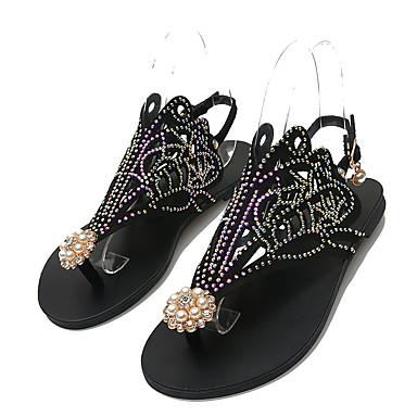 voordelige Damespantoffels & slippers-Dames Slippers & Flip-Flops Platte hak Open teen Suède / PU Informeel Zomer Zwart / Amandel