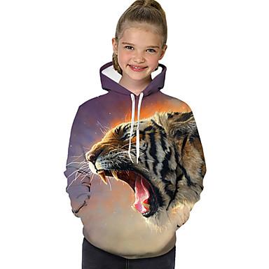 baratos Moletons Para Meninas-Infantil Bébé Para Meninas Activo Básico Geométrica Estampado Leopardo Estampado Manga Longa Moleton & Blusa de Frio Khaki
