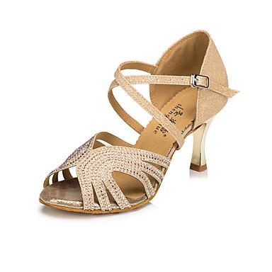 baratos Sapatos de Salsa-Mulheres Sapatos de Dança Sintéticos Sapatos de Dança Latina Pedrarias Salto Calcanhar Transparente Banhado a Ouro Dourado / Couro
