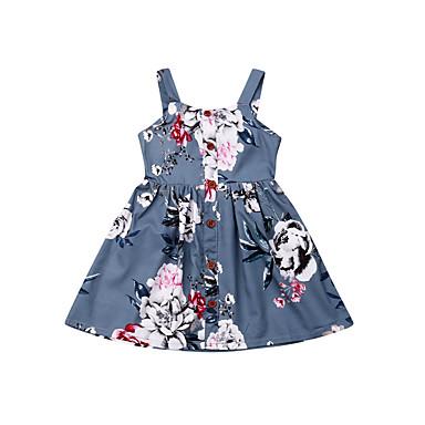 voordelige Babyjurkjes-Baby Meisjes Actief / Standaard Bloemen Print Mouwloos Jurk blauw