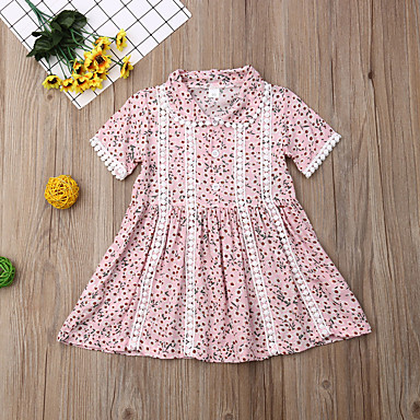 povoljno Haljinice za bebe-Dijete Djevojčice Aktivan / Osnovni Cvjetni print Print Kratkih rukava Haljina Blushing Pink
