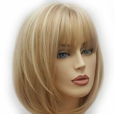 povoljno Perike i ekstenzije-Sintetičke perike Prirodno ravno Stil Stepenasta frizura Capless Perika Zlatna Svijetlo zlatna Sintentička kosa 28~32 inch Žene Novi Dolazak Zlatna Perika Srednja dužina
