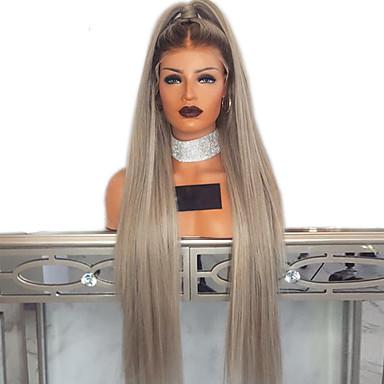 Sentetik Dantel Ön Peruk Düz Stil Orta kısım Ön Dantel Peruk Ombre Ombre Rengi Sentetik Saç 18-26 inç Kadın's Ayarlanabilir / Isı Dirençli / Parti Ombre Peruk Uzun Cosplay Peruk