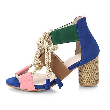 Kadın's Sandaletler Kalın Topuk Burnu Açık PU Günlük Yürüyüş İlkbahar yaz / Sonbahar Kış Yeşil ve Mavi / Mavi+Pembe / Beyaz
