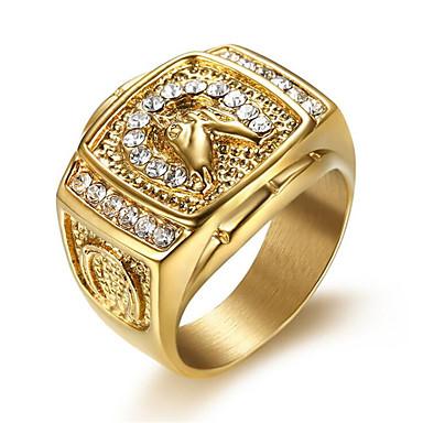 voordelige Herensieraden-Heren Ring Kubieke Zirkonia 1pc Goud Titanium Staal Geometrische vorm Stijlvol Dagelijks Sieraden Klassiek Hoop Cool