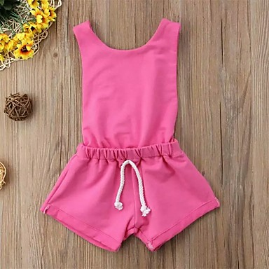 povoljno The Freshest One-Piece-Dijete Djevojčice Aktivan / Osnovni Jednobojni Otvorena leđa Bez rukávů bodysuit Blushing Pink