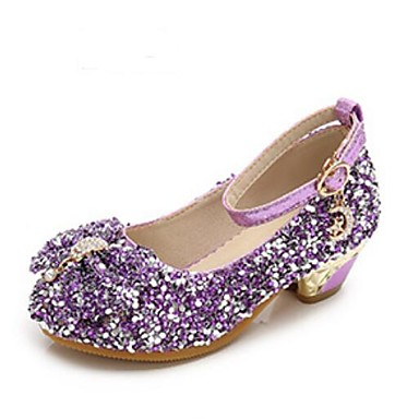 hesapli Kız Çocuk Ayakkabıları-Genç Kız PU Topuklular Küçük Çocuklar (4-7ys) / Büyük Çocuklar (7 yaş +) Çiçekçi Kız Ayakkabıları / Gençler için minik topuklar Kristal / Fiyonk Mor / Mavi / Pembe Bahar / Sonbahar / Parti ve Gece