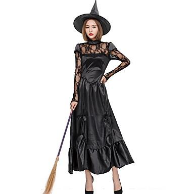 Cadı Kostüm Kadın's Peri Masalı Teması Cadılar Bayramı Performans Kostümler Kadın's Dans kostümleri Mat Saten Malzeme Kombini