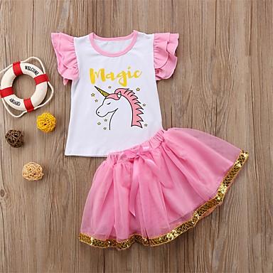 povoljno Kompletići za bebe-Dijete Djevojčice Aktivan / Osnovni Print Bez rukávů Kratka Komplet odjeće Blushing Pink