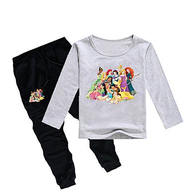 baratos Conjuntos para Meninas-Infantil Bébé Para Meninas Básico Estampado Estampado Manga Longa Padrão Padrão Algodão Conjunto Cinzento
