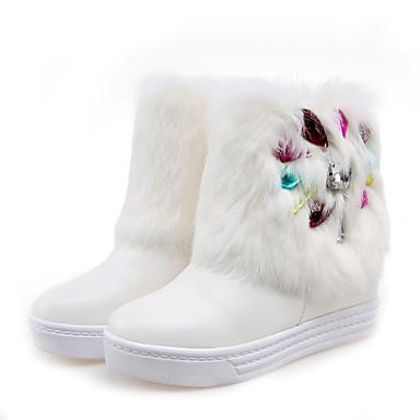 voordelige Dameslaarzen-Dames Laarzen Creepers Ronde Teen PU Kuitlaarzen Brits / Studentikoos Herfst winter Zwart / Wit