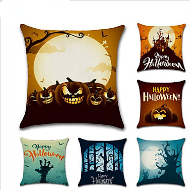 cheap Happy Halloween-6 pcs Linen Pillow Cover, Holiday Cartoon European Halloween Throw Pillow