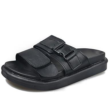 voordelige Damespantoffels & slippers-Dames Slippers & Flip-Flops Platte hak Open teen PU Zomer Wit / Zwart / Roze