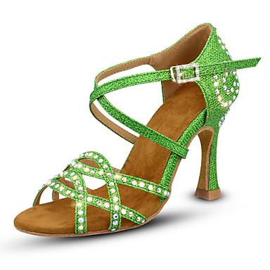 baratos Sapatos de Salsa-Mulheres Sapatos de Dança Sintéticos Sapatos de Dança Latina Gliter com Brilho / Purpurina / Cristal / Strass Salto Salto Carretel Personalizável Dourado / Verde / Ensaio / Prática