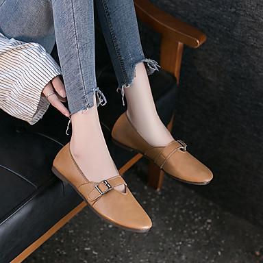 Kadın's Mokasen & Bağcıksız Ayakkabılar Düz Taban PU Sonbahar / İlkbahar yaz Siyah / Beyaz / Sarı