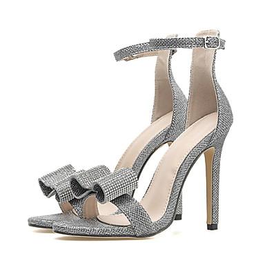 Kadın's Sandaletler Stiletto Topuk Sivri Uçlu Fiyonk PU Yaz Gümüş