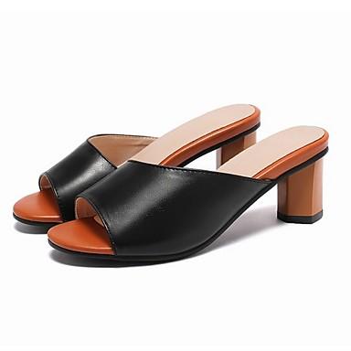 Kadın's Sandaletler Kalın Topuk Açık Uçlu PU Yaz Siyah / Beyaz