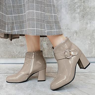 Kadın's Çizmeler Kalın Topuk Yuvarlak Uçlu Patentli Deri Bootiler / Bilek Botları Klasik / Minimalizm Yaz / Sonbahar Kış Siyah / Kırmızı Şarap / Gri