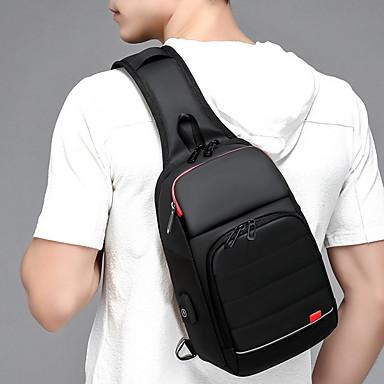 cheap Men's Bags-Men's Zipper Oxford Cloth / Polyester Sling Shoulder Bag Black