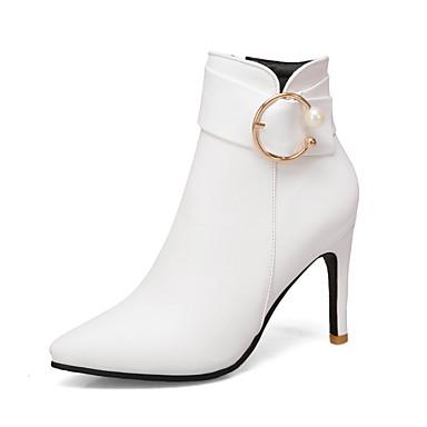 Kadın's Çizmeler Stiletto Topuk Sivri Uçlu İmistasyon İnci PU Bootiler / Bilek Botları İş / İngiliz Sonbahar Kış Siyah / Beyaz / Sarı / Parti ve Gece