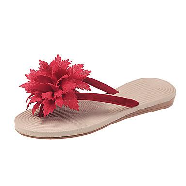 voordelige Damespantoffels & slippers-Dames Slippers & Flip-Flops Platte hak Open teen Satijnen bloem Katoen / PU Informeel Zomer Beige / Rood / Groen