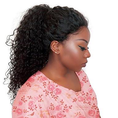 billige Blondeparykker med menneskehår-Ekte hår Helblonde Parykk Gratis del stil Brasiliansk hår Krøllet Svart Parykk 130% Hair Tetthet Dame Svart Dame Kort Blondeparykker med menneskehår Clytie