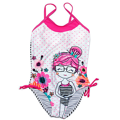 povoljno Odjeća za djevojčice-Djeca Djevojčice Prugasti uzorak Poliester Kupaći kostim Blushing Pink
