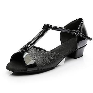 baratos Shall We® Sapatos de Dança-Mulheres Sapatos de Dança Sintéticos Sapatos de Dança Latina Salto Salto Grosso Personalizável Preto / Dourado / Fúcsia / Espetáculo / Couro / Ensaio / Prática