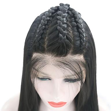 Синтетические кружевные передние парики Прямой Стиль Свободная часть Лента спереди Парик Черный Черный Искусственные волосы 18-26 дюймовый Жен. Регулируется / Жаропрочная / Для вечеринок Черный Парик