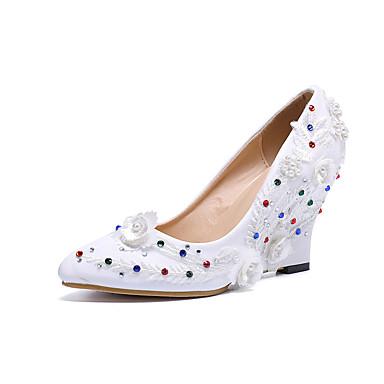 6a547217735 Mujer Zapatos de boda Tacón Cuña Dedo Puntiagudo Flor de Satén / Purpurina  PU Vintage / Dulce Primavera verano / Otoño invierno Blanco / Boda / Fiesta  y ...