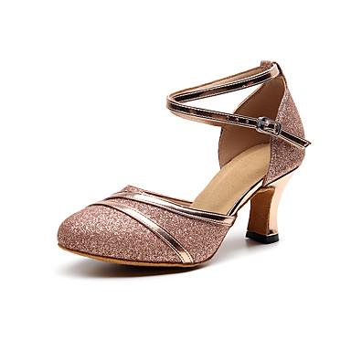 baratos Shall We® Sapatos de Dança-Mulheres Sapatos de Dança Couro Sapatos de Dança Moderna Purpurina Salto Salto Cubano Personalizável Dourado / Preto / Vermelho / Espetáculo / Ensaio / Prática