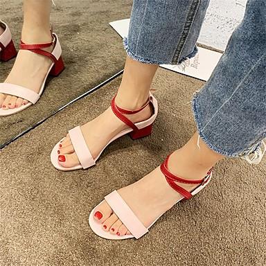 Kadın's Sandaletler Kalın Topuk PU Minimalizm Yaz Badem / Pembe / Zıt Renkli