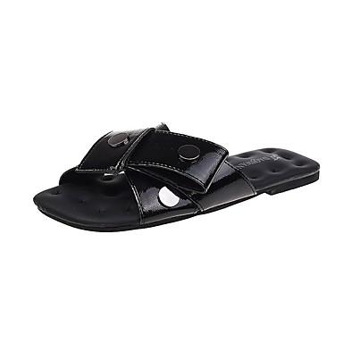 voordelige Damespantoffels & slippers-Dames Slippers & Flip-Flops Platte hak Siernagel PU Informeel Lente Zwart / Zilver / Rood