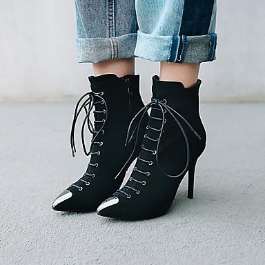voordelige Dameslaarzen-Dames Laarzen Naaldhak Gepuntte Teen Imitatieleer Korte laarsjes / Enkellaarsjes minimalisme Herfst winter Zwart / Geel / Rood