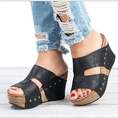 Kadın's Sandaletler Creepers Yuvarlak Uçlu Perçin PU Yaz Siyah / Kahverengi / Bej
