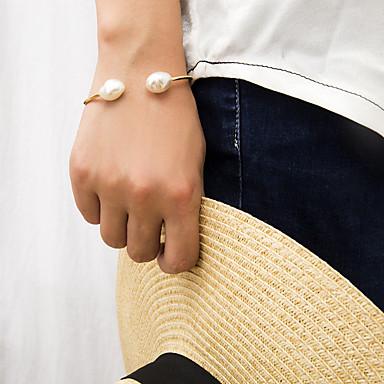 baratos Bangle-Mulheres Bracelete Pulseira Retro Precioso Na moda Pérola Pulseira de jóias Dourado Para Presente Diário Escola Feriado Trabalho