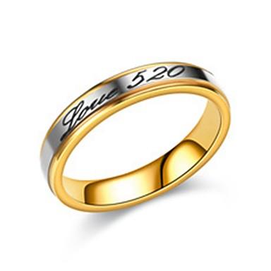 voordelige Herensieraden-Heren Dames Ringen voor stelletjes Bandring Ring 1pc Goud Zilver Roestvast staal Cirkelvormig Standaard Modieus Bruiloft Verloving Sieraden Nummer Letter Schattig