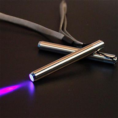 johtanut uv-taskulampun taskulamppu uv-lamppu ruostumattomasta teräksestä mini-tasku taskulampun merkkivalo ilmaisimen havaitsemiseksi valkoinen / violetti