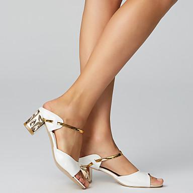 hesapli Kadın Sandaletleri-Kadın's Sandaletler Kalın Topuk Açık Uçlu PU Rahat Yaz Altın / Beyaz / Gümüş / EU36