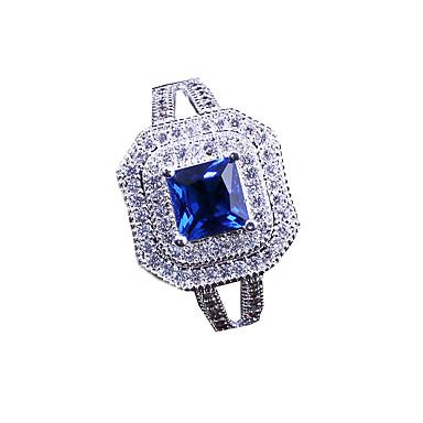 abordables Bague-Femme Anneau Alliance Bague / Bague / Anneaux Zircon 1pc Bleu Cuivre Forme Géométrique Elégant / Luxe Soirée / Cadeau / Quotidien Bijoux de fantaisie