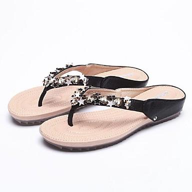 voordelige Damespantoffels & slippers-Dames Slippers & Flip-Flops Platte hak Strass Microvezel Zomer Zwart / Goud / Zilver